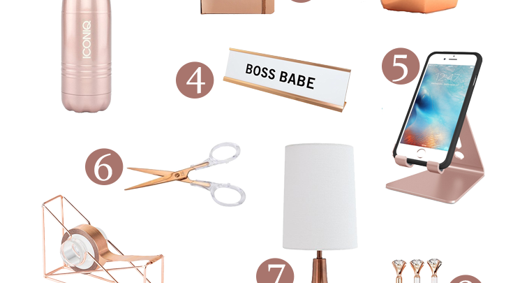 There's something about Rose Gold that's chic and boss all in one. Give your home office workspace some pop with these 12 rose gold office accessories.